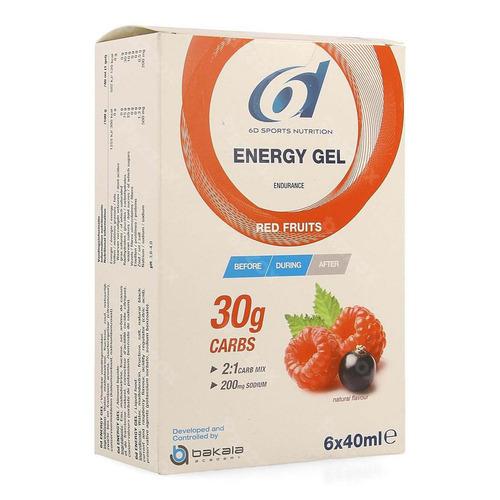 6d Sports Nutrition Energy Gel Fruits Rouges 6x40ml